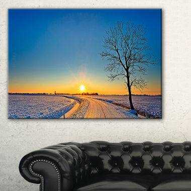 Designart Distant Sunset In Winter Landscape Photography Canvas Art Print