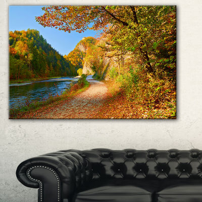 Designart Dunajec River Gorge In Autumn LandscapePhoto Canvas Art Print - 3 Panels