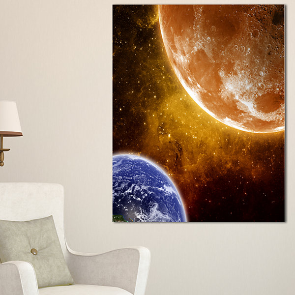 Designart Earth And Moon Spacescape Canvas Art Print - 3 Panels