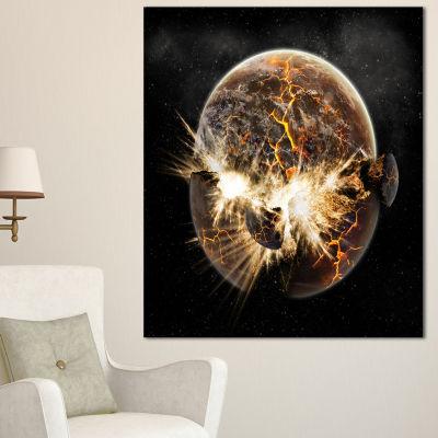 Designart Earth Apocalypse Abstract Canvas Art Print - 3 Panels