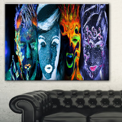 Designart Earth Fire Air And Water Abstract Portrait Canvas Print