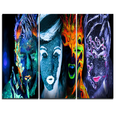 Designart Earth Fire Air And Water Abstract Portrait Canvas Print - 3 Panels