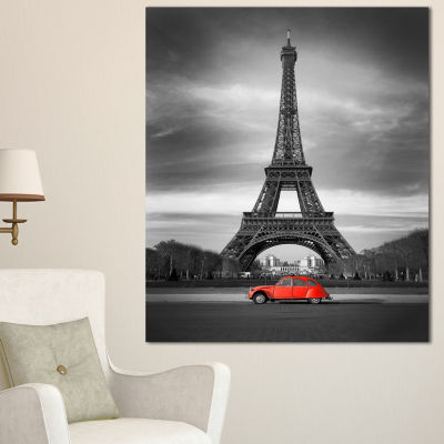 Designart Eiffel And Old Red Car Landscape CanvasArt Print