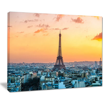 Designart Eiffel At Sunrise In Paris Cityscape Photography Canvas Print