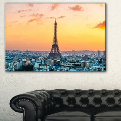 Designart Eiffel At Sunrise In Paris Cityscape Photography Canvas Print - 3 Panels