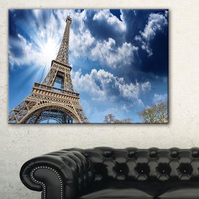 Designart Eiffel Under Blue Sky Skyline Photography Canvas Art - 3 Panels