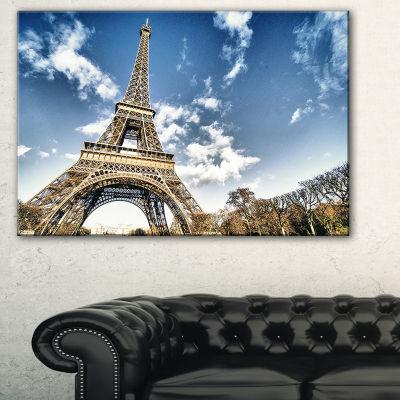 Designart Eiffel Under Dark Cloudy Sky LandscapePhotography Canvas Print