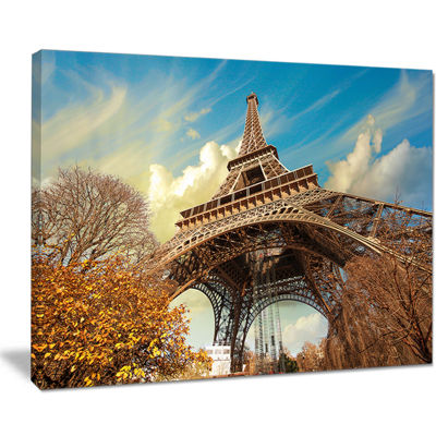 Designart Eiffel With Winter Vegetation Skyline Photography Canvas Art