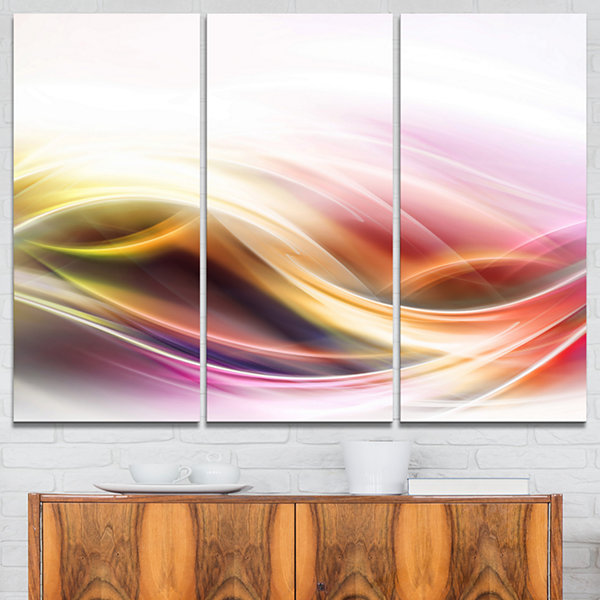 Designart Elegant Light Color Pattern Abstract Canvas Art Print - 3 Panels