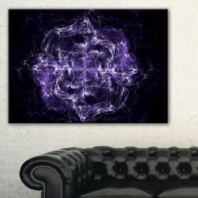 Designart Fractal Purple Flower Explosion FloralCanvas Art Print - 3 Panels