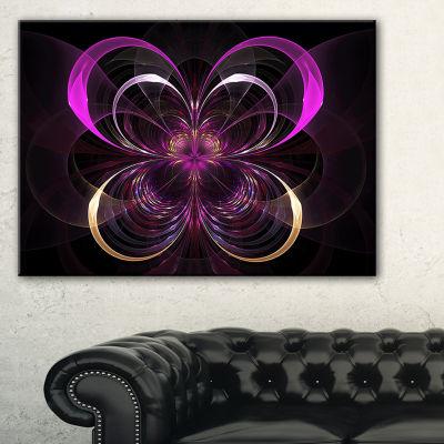 Designart Fractal Purple Flower In Dark Floral Canvas Art Print - 3 Panels