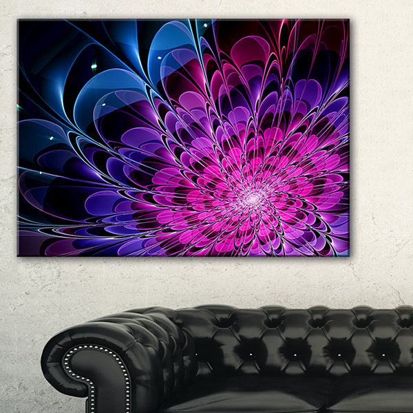 Designart Fractal Purple Rose Flower Floral Art Canvas Print