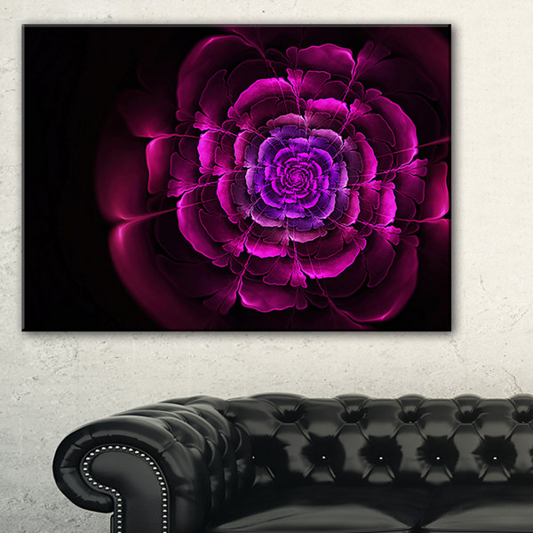 Designart Fractal Purple Rose In Dark Floral Canvas Art Print - 3 Panels