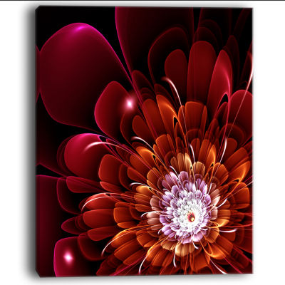 Designart Fractal Red And Yellow Flower Floral ArtCanvas Print