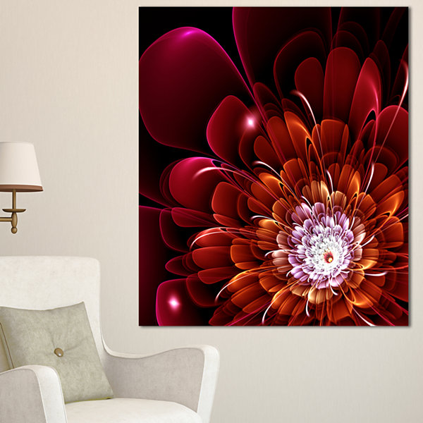 Designart Fractal Red And Yellow Flower Floral ArtCanvas Print - 3 Panels