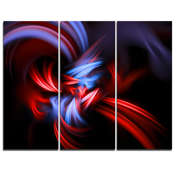 Design Art Fractal Red Connected Stripes AbstractCanvas Art Print - 3 Panels