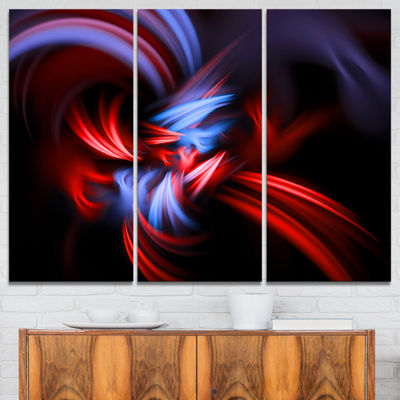 Designart Fractal Red Connected Stripes AbstractCanvas Art Print - 3 Panels