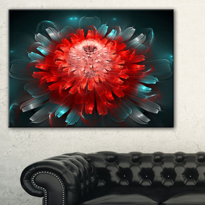Designart Fractal Red N Blue Flower Floral Art Canvas Print - 3 Panels