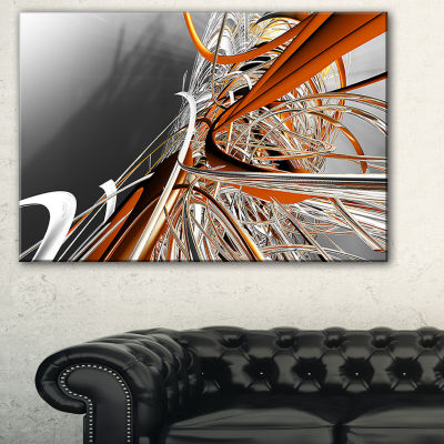 Designart Fractal Red N White Connected Stripes Canvas Art Print