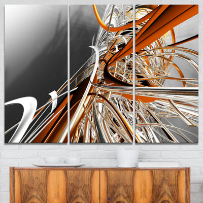 Designart Fractal Red N White Connected Stripes Canvas Art Print - 3 Panels