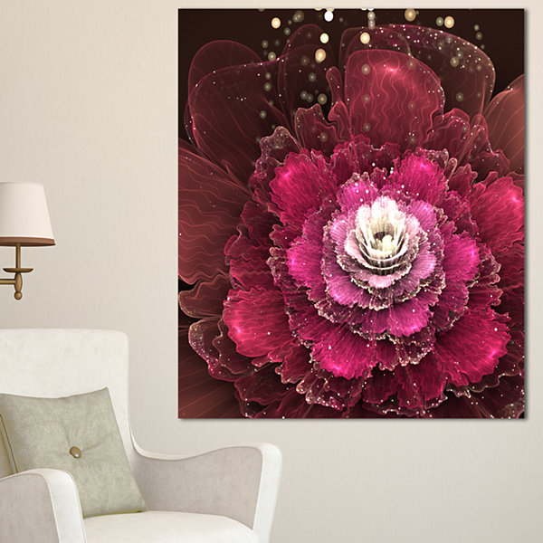 Designart Fractal Red Rose Flower Floral Art Canvas Print