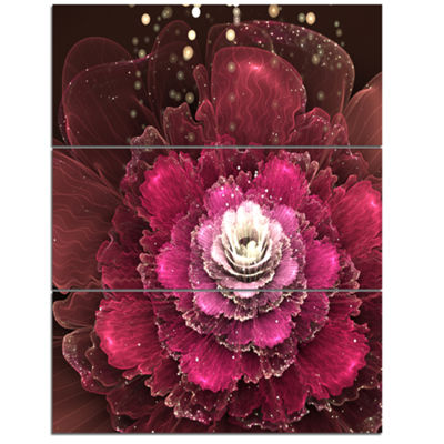 Designart Fractal Red Rose Flower Floral Art Canvas Print - 3 Panels