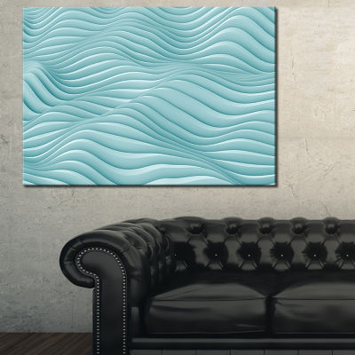 Designart Fractal Rippled Blue 3D Waves Abstract Canvas Art Print
