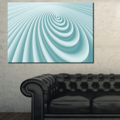 Designart Fractal Rounded Blue 3D Waves Abstract Canvas Art Print