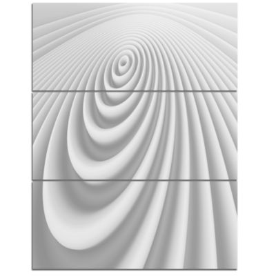 Designart Fractal Rounded White 3D Waves AbstractCanvas Art Print - 3 Panels