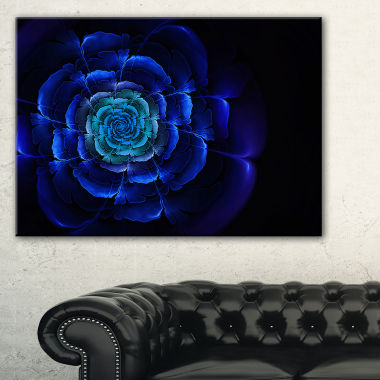 Designart Fractal Silver Blue In Dark Floral Canvas Art Print