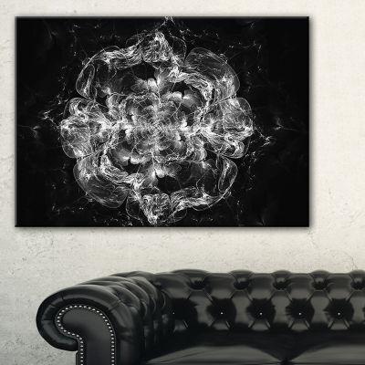 Designart Fractal Silver Flower Explosion FloralArt Canvas Print - 3 Panels