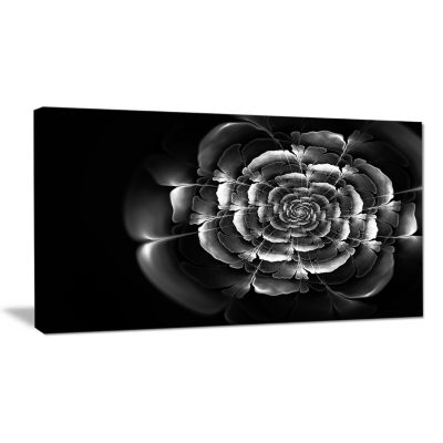 Designart Fractal Silver Rose In Dark Floral Canvas Art Print
