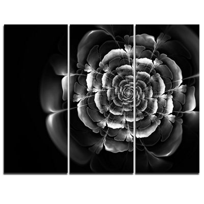 Designart Fractal Silver Rose In Dark Floral Canvas Art Print - 3 Panels