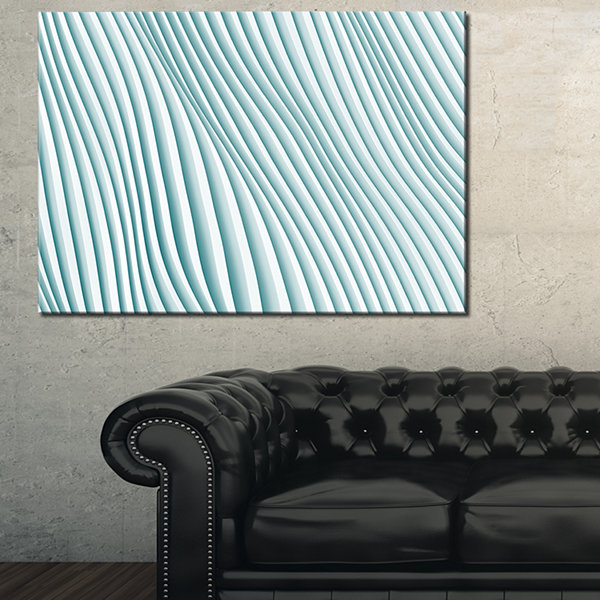 Designart Fractal Small Blue 3D Waves Abstract Canvas Art Print - 3 Panels