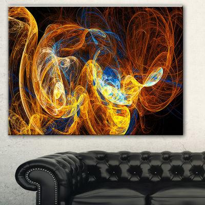 Designart Fractal Smoke Texture Orange Abstract Canvas Art Print