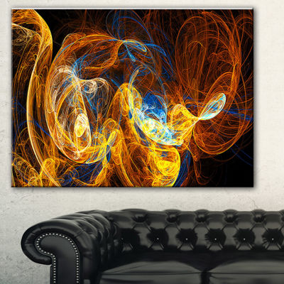 Designart Fractal Smoke Texture Orange Abstract Canvas Art Print - 3 Panels