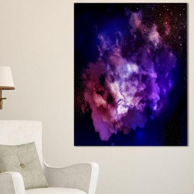 Designart Fractal Smoke Texture Purple Abstract Canvas Art Print - 3 Panels