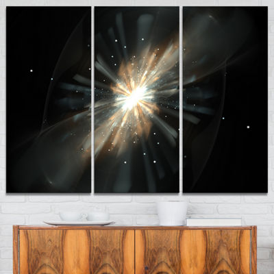 Designart Fractal Star Galaxy Abstract Canvas ArtPrint - 3 Panels