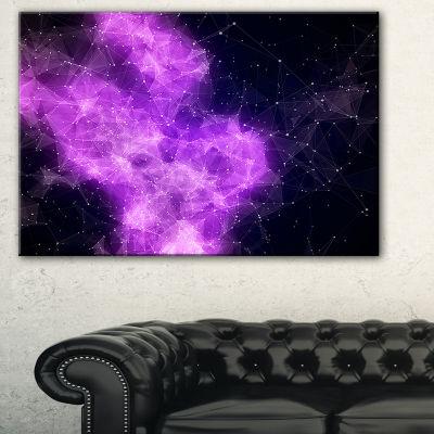 Designart Fractal Violet Nebula Abstract Canvas Art Print - 3 Panels