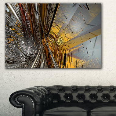 Designart Fractal Yellow Connected Stripes Abstract Canvas Art Print
