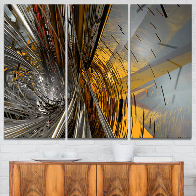 Designart Fractal Yellow Connected Stripes Abstract Canvas Art Print - 3 Panels