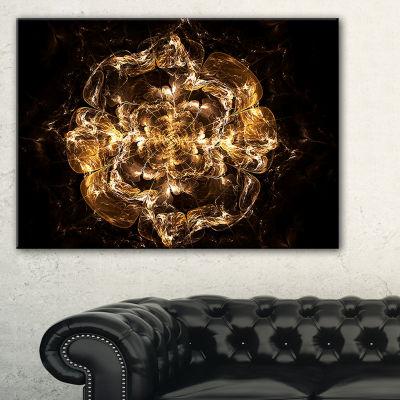 Designart Fractal Yellow Flower Explosion FloralArt Canvas Print - 3 Panels