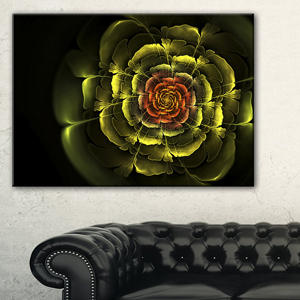 Designart Fractal Yellow Rose In Dark Floral Canvas Art Print