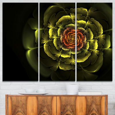 Designart Fractal Yellow Rose In Dark Floral Canvas Art Print - 3 Panels