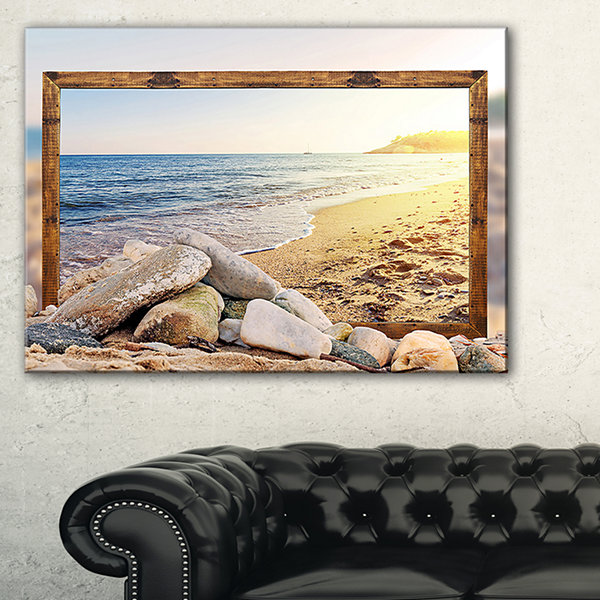 Designart Framed Effect Beach Rocks Seashore Canvas Art Print