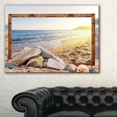 Designart Framed Effect Beach Rocks Seashore Canvas Art Print - 3 Panels