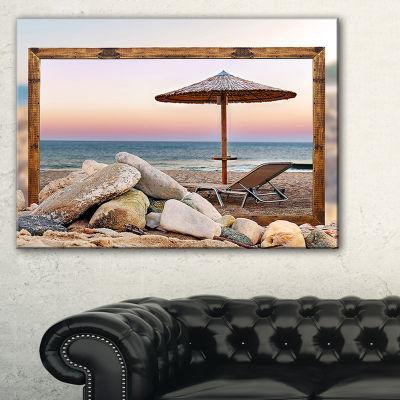 Designart Framed Effect Beach Seating Seashore Canvas Art Print - 3 Panels