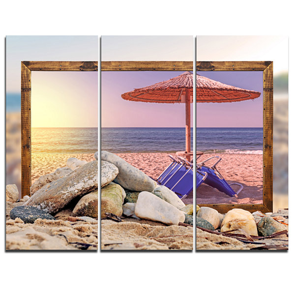 Designart Framed Effect Beach Sunset Seashore Canvas Art Print - 3 Panels