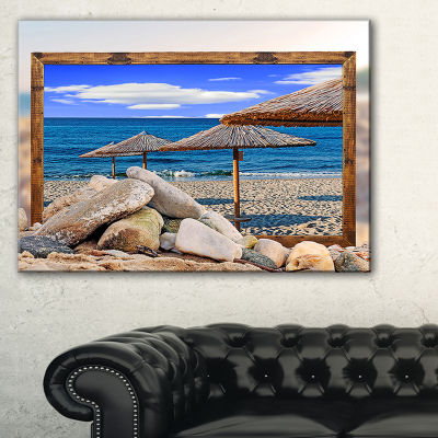 Designart Framed Effect Beach Umbrellas SeashoreCanvas Art Print