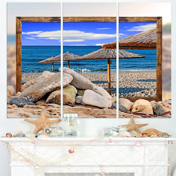 Designart Framed Effect Beach Umbrellas SeashoreCanvas Art Print - 3 Panels